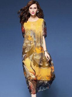 Shop for high quality Plus Size Floral Print Silk Maxi With Belt online at cheap prices and discover fashion at Ezpopsy.com