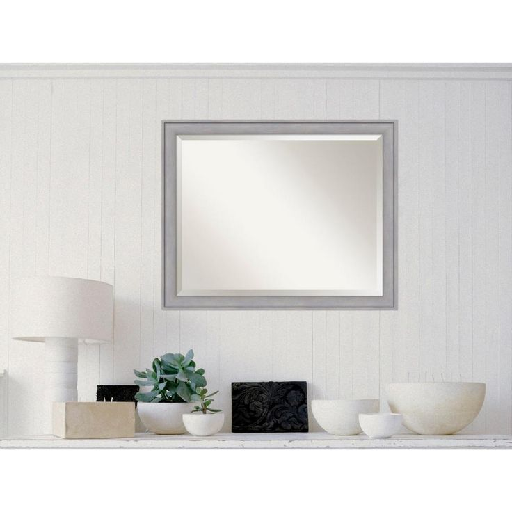 Graywash Wood 31 in. W x 25 in. H Contemporary Framed Mirror
