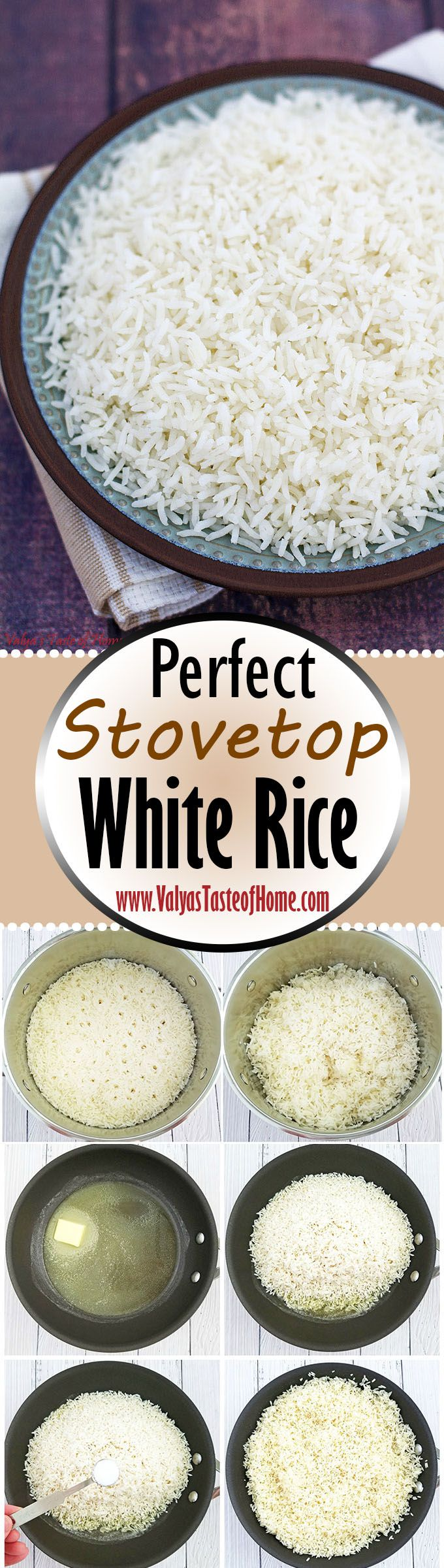 After some tweaking and practice, I nailed the Perfect Stovetop Rice Recipe touch and been cooking rice this way for many years now. Making perfect white rice is actually quite easy once you know a few simple steps that will put a feel-good smile of accomplishment on your face every time you make it. Yep, I'm not kidding, folks! ;) | www.valyastasteofhome.com