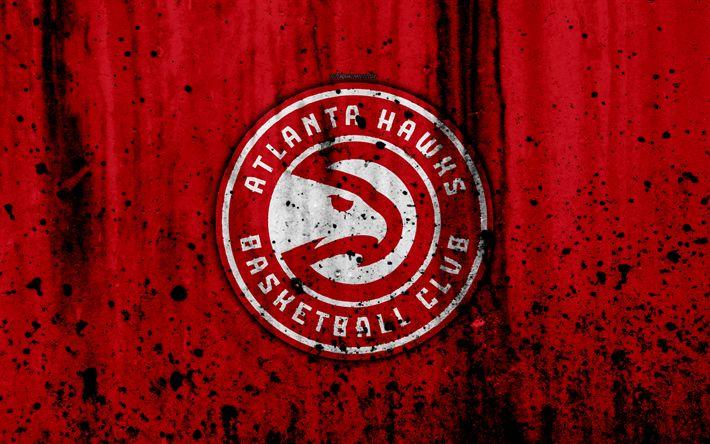Download wallpapers Atlanta Hawks, 4k, grunge, NBA, basketball club, Eastern Conference, USA, emblem, stone texture, basketball, Atlanta Hawks logo