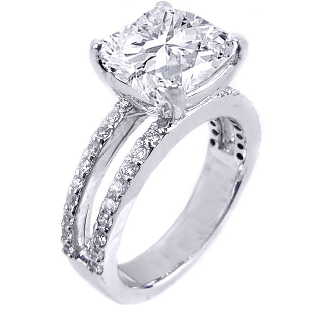5 carat cushion cut double banded ring britney spears engagement ring from kevin - Double Band Wedding Ring