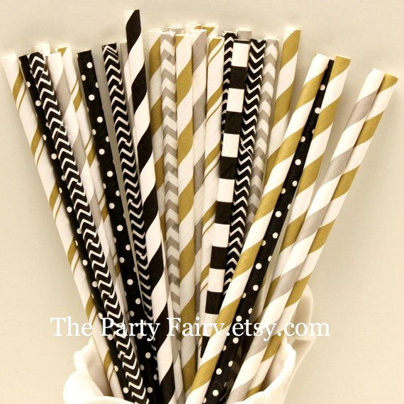 Paper Straws Silver Gold and Black Assortment by ThePartyFairy, $2.99