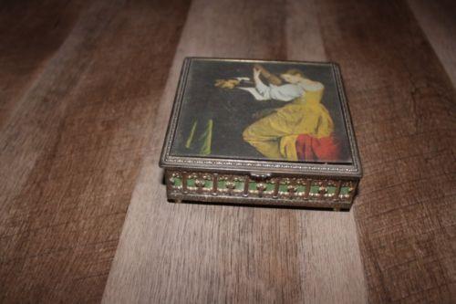 Vintage Brass Filigree Footed Music Trinket Box Lute Player Orazio Gentileschi