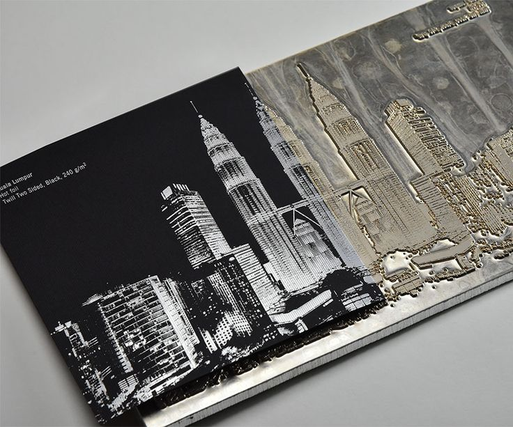 #Skylines #visualbook #Favini #Twill #Black #HotFoil #KualaLumpur - Find more about #Skylines http://www.favini.com/en/news/black-papers-favini/