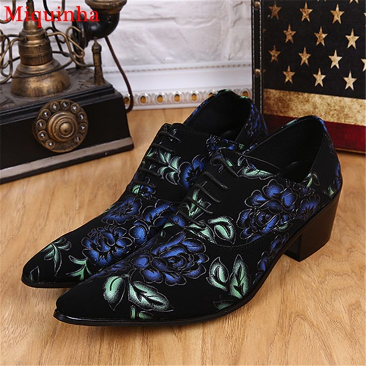 Top Quality Suede Leather Mens' Business Dress Shoes Pointed Toe Wedding Dress Shoes Flower Print Lace Up Oxford Shoes