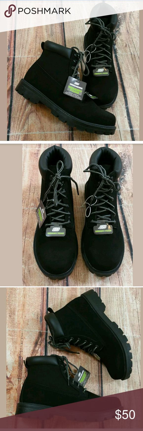 Skechers Lace Up Ankle Memory Foam Boots Mens 8.5 Skechers Lace Up Ankle Memory Foam Boots Mens Size 8.5 Black NEW Condition:  Brand New without Box Skechers Shoes Boots