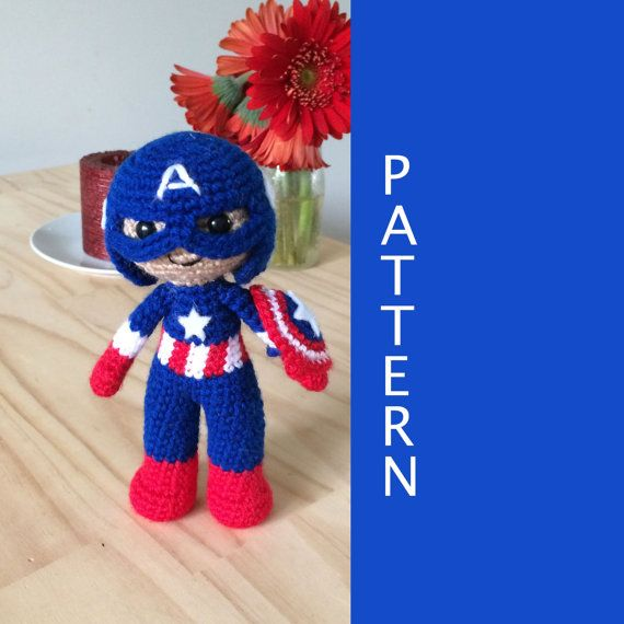 Captain America Knitting Pattern : Captain America Amigurumi Crochet Doll Pattern Crochet doll pattern, The o&...