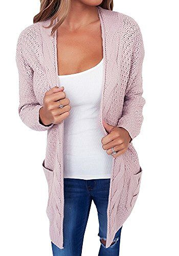 e974a3a7b655 Gamery Womens Knitted Long Sleeve Open Front Chunky Pockets Cardigan Sweater  Outerwear XLarge Pink * See this great product. (This is an affiliate link)  # ...