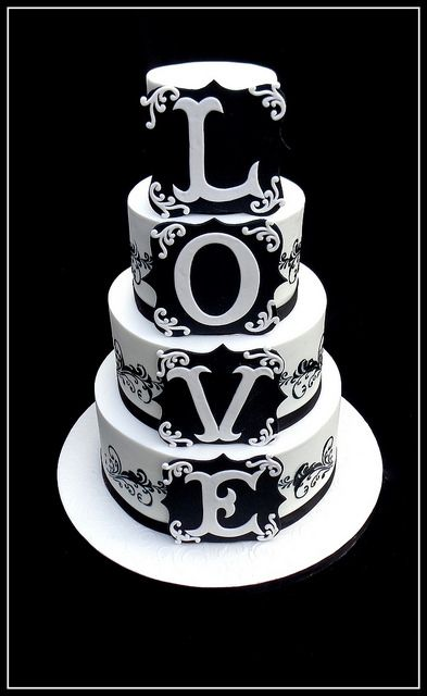 Black White LOVE Cake