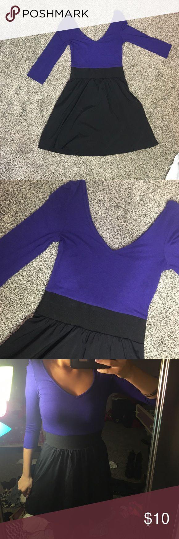 Purple and Black Dress Deep V-Neck Dress. Preloved but had wear left, Express Dresses Mini