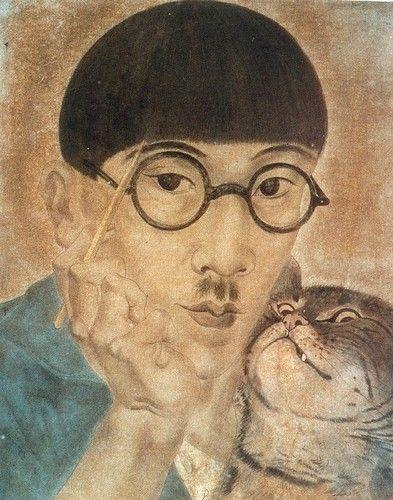Léonard FOUJITA ou Tsugouharu Foujita ou Tsuguharu Fujita (1886-1968) - Autoportrait au chat 1926