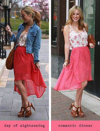 3 LC Lauren Conrad collection pieces worn two different ways: daytime vs nighttime {pieces included: hi-low maxi skirt, platform dress sandals, floral print tank}