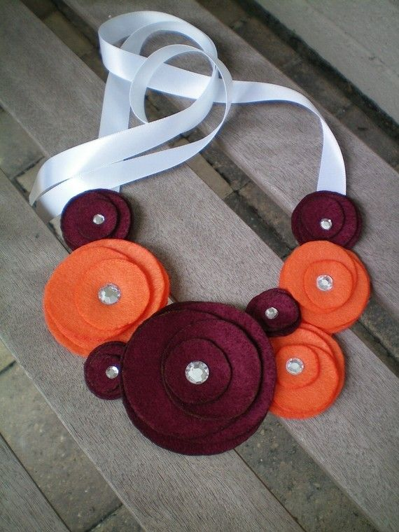 Necklace...Flower...Statement...team colors...SALE...Flower Swirl Necklace-College Edition (Virgina Tech). $22.00, via Etsy.