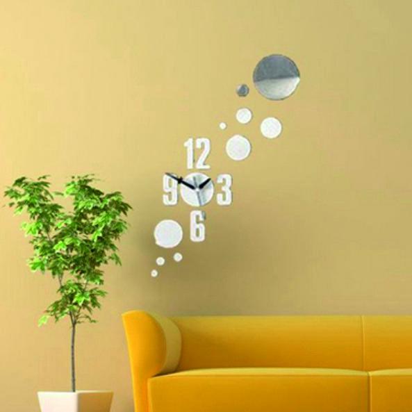 Nástenné hodiny na stenu, wall mirror clock, spiegeltakt, zegar lustrom wall sticker