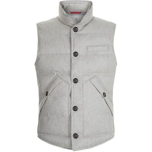 Brunello Cucinelli Flannel Down Gilet (€1.800) ❤ liked on Polyvore featuring men's fashion, men's clothing, men's outerwear, men's vests, mens quilted vest, mens down vest, mens flannel vest and mens travel vest
