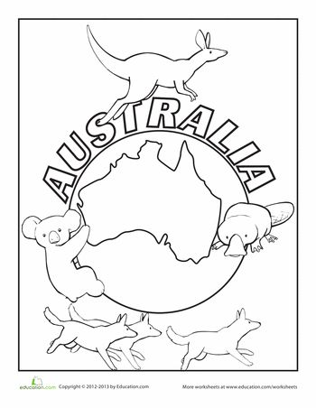 Worksheets: Australia Coloring Page