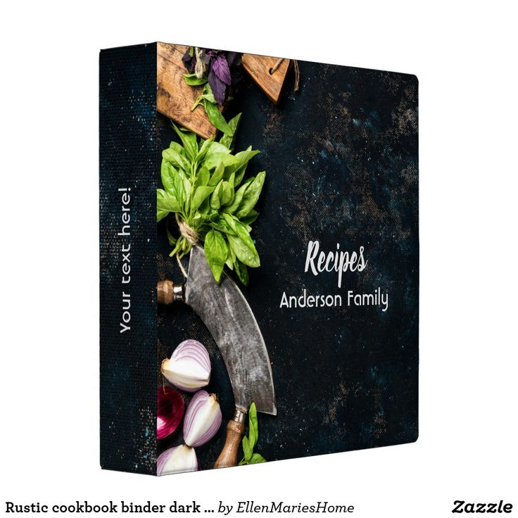 Rustic cookbook binder dark canvas herbs food