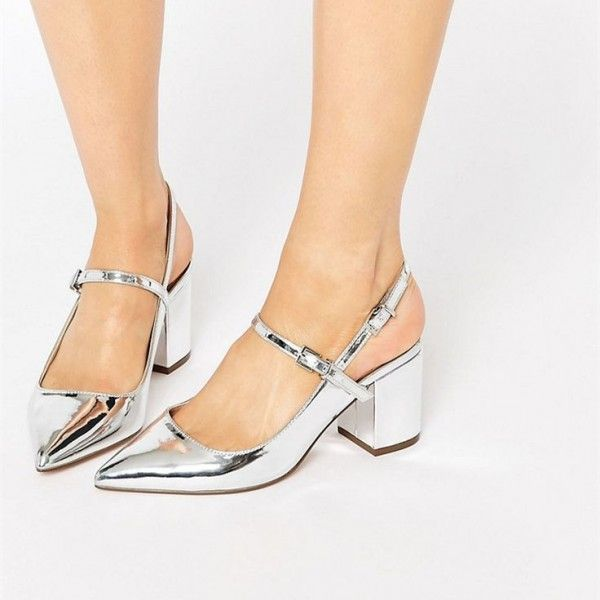 Women's Silver Chunky Heels Dress Shoes Patent Leather Slingback Pumps image 1