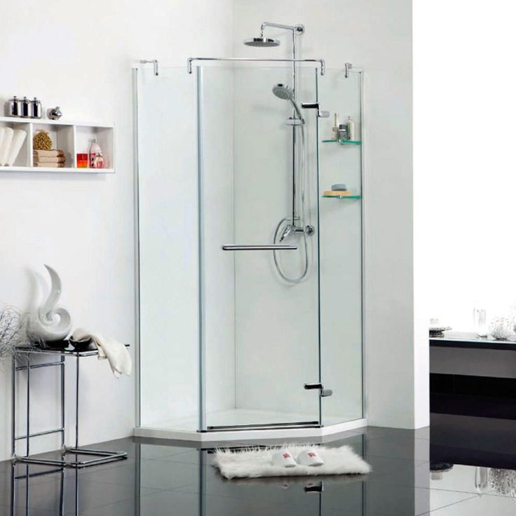 "40"" x 40"" Anje Neo Angle Shower Enclosure - with Tray - Right Hand Door - Brushed Aluminum"