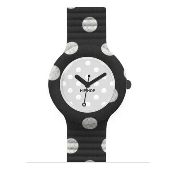 Il nero e il bianco si danno appuntamento nell'orologio Pois Noir di Hip Hop: un segnatempo trendy ed alla moda, con movimento al quarzo e quadrante 32 mm