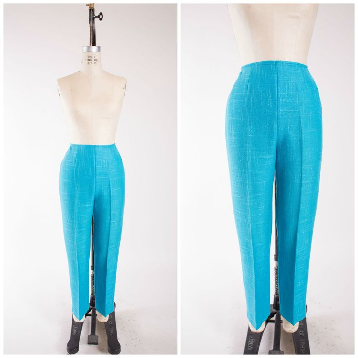 1950s Vintage Pants Bright Turquoise Blue Rayon Linen Blend Vintage 50s Cigarette Pants with Weaved Texture Size Medium by stutterinmama on Etsy