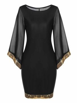 Round Neck Sequins Patchwork Women's Bodycon Dress