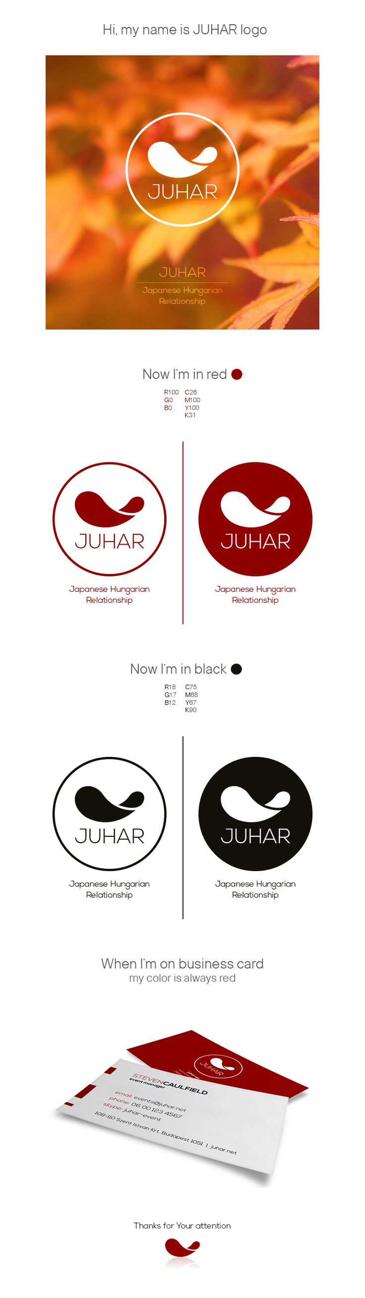 "JUHAR Logo - This logo design was made for a Japanese Hungarian site dealing with contemporary art tenders. 'Juhar' means maple. I decided not to use the usual form of the leaf but I focused on the seed instead. The distinctive fruit are called ""maple keys""."
