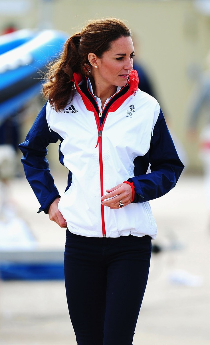 Catherine, Duchess of Cambridge meets with members of the Team GB sailing squad on Day 10 of the London 2012 Olympic Games at the Weymouth
