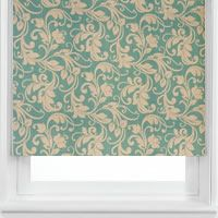 Luxurious Teal Floral Damask or Flock Patterned Roller Blinds from English Blinds. The graceful way the flowers and leaves swirl gives them a truly elegant look.