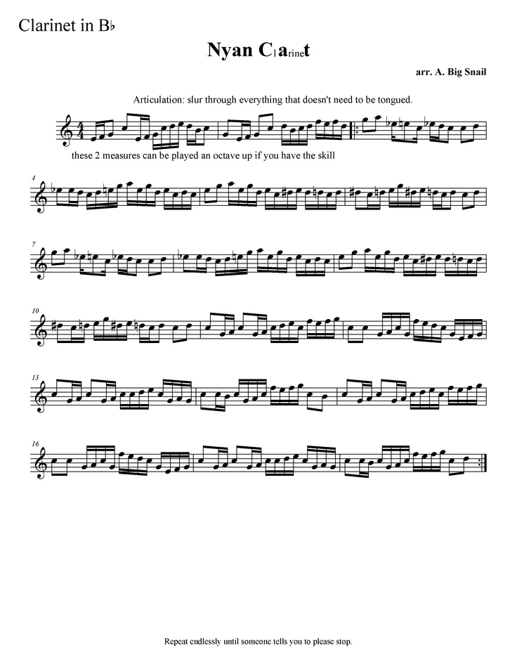 Nyan cat sheet music for clarinet!!! SO trying this!