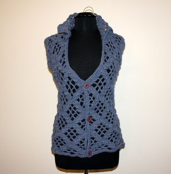 Elegant lowcut sexy crochet vest for her Ready to ship by darina23, $75.00
