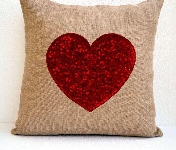Burlap Heart Pillow Cover Red Heart Sequin Pillow Decorative Cushion Throw Pillow Birthday Engagement Wedding Anniversary Gift Present Burlap Pillows Throw Pillows Pillows