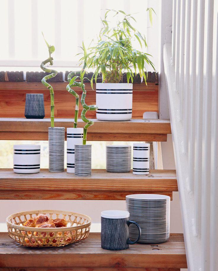 Blumentopf Stripes schwarz weiß von liv interior online kaufen