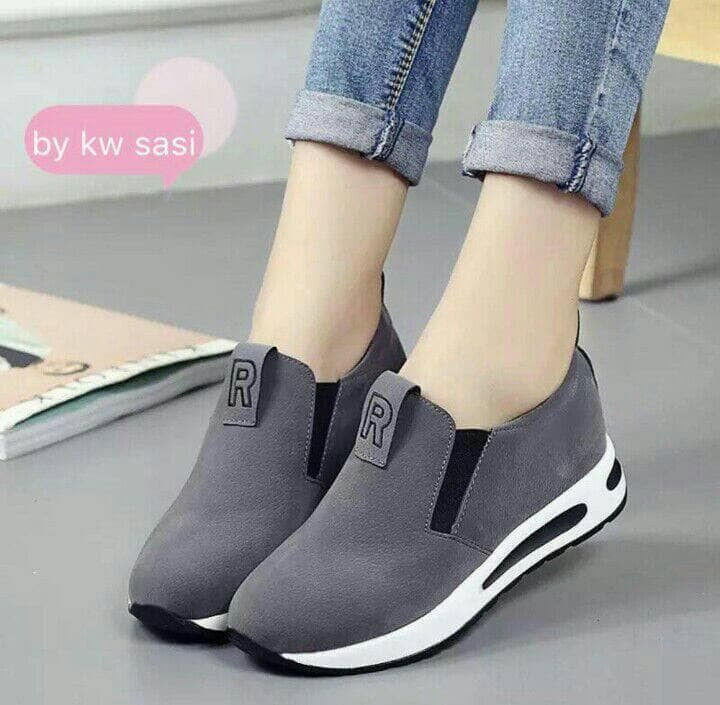 Slipon R Abu Sepatu Perempuan Sepatu Tumit Tinggi Sepatu