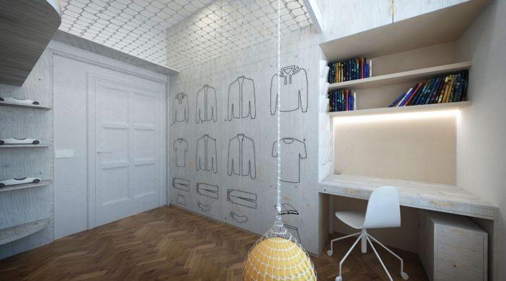 Plywood interior design - kids bedroom graphic design in interior