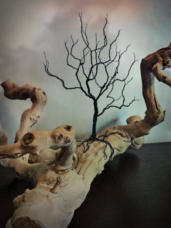 Wire Tree Sculpture Tree of Life on Grapewood Branch Tree Landscape Sculpture