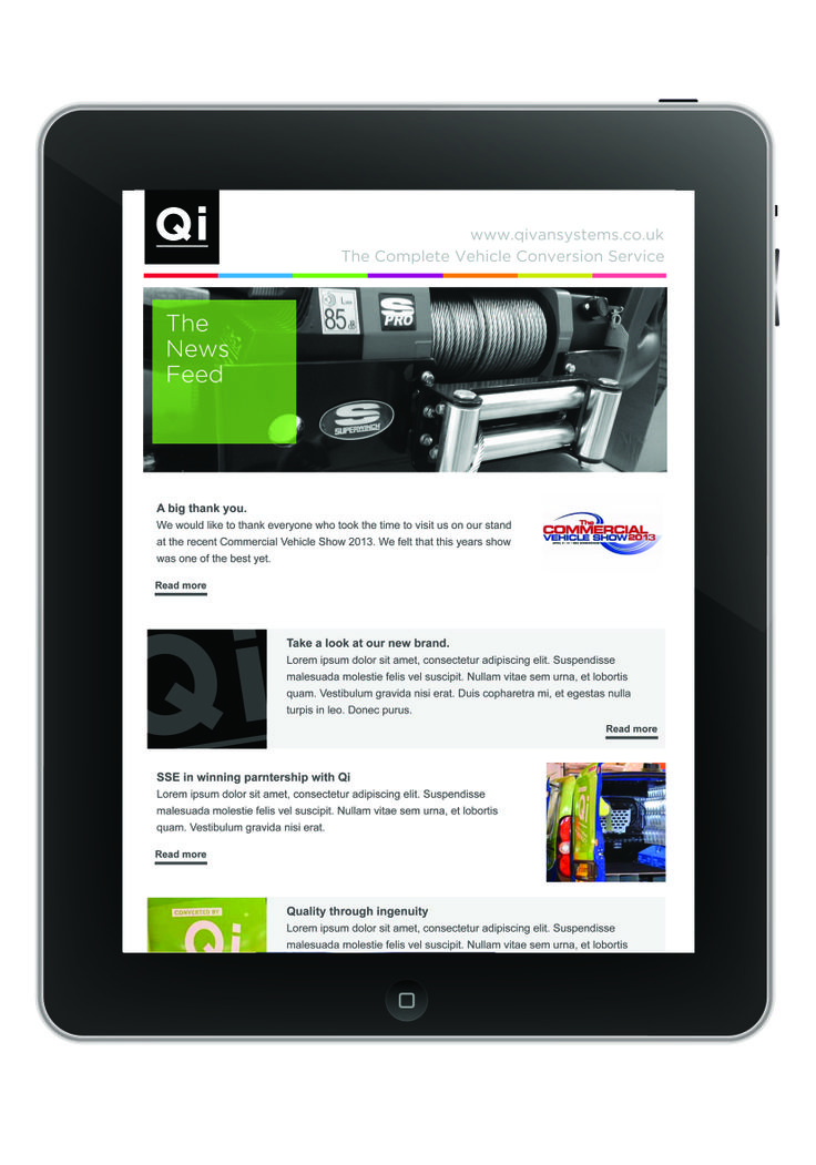 Qi Van Systems -  Eshot design and program for regular, targeted digital marketing.