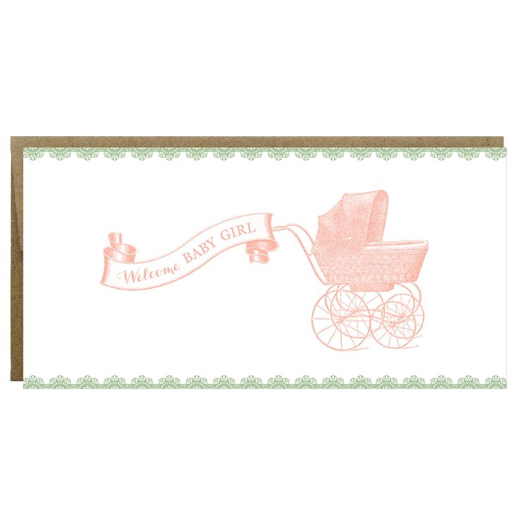 Welcome Baby Girl Vintage Carriage Greeting Card - Single Card