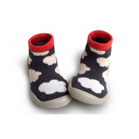 """Slippers, grey with blow in the dark clouds, """"Ozone nuages"""", Collégien"""
