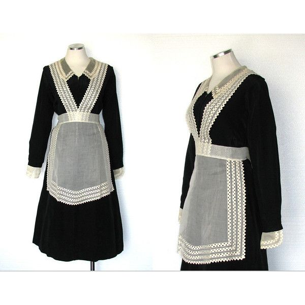 Vintage 30s Maid Costume 30s Servant Dress Downton Abbey 1930s Dress Housemaid Costume 30s Crisp Batiste Apron Size M ($114) found on Polyvore