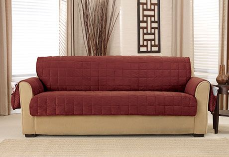 Sure Fit Slipcovers Deep Pile Velvet Non-Skid Furniture Cover - sofa pet throw