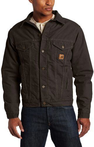 $110, Dark Brown Denim Jacket: Carhartt Big Tall Jean Jacket Sherpa Lined Sandstone. Sold by Amazon.com. Click for more info: https://lookastic.com/men/shop_items/111347/redirect