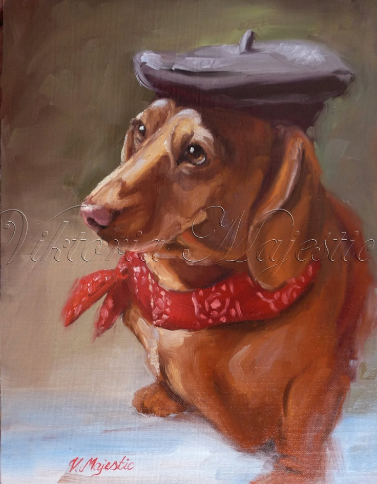 Mini Dachshund Wiener Dog, Doxin, Artist Fairy Tale 11x14 Painting, Animal Pet Fine Art,  Original Oil Paintigng Art, Doxie on Etsy. $165.00, via Etsy.