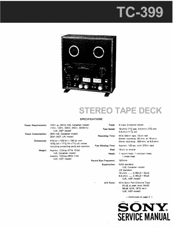 Sony TC-399 reel to reel tape recorder Service Manual 100 per cent satisfaction guaranteed  100 DOWNLOAD