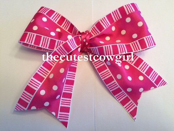 Cheer / Pageant bow Girls Toddler Pink POLKA by TheCutestCowgirl