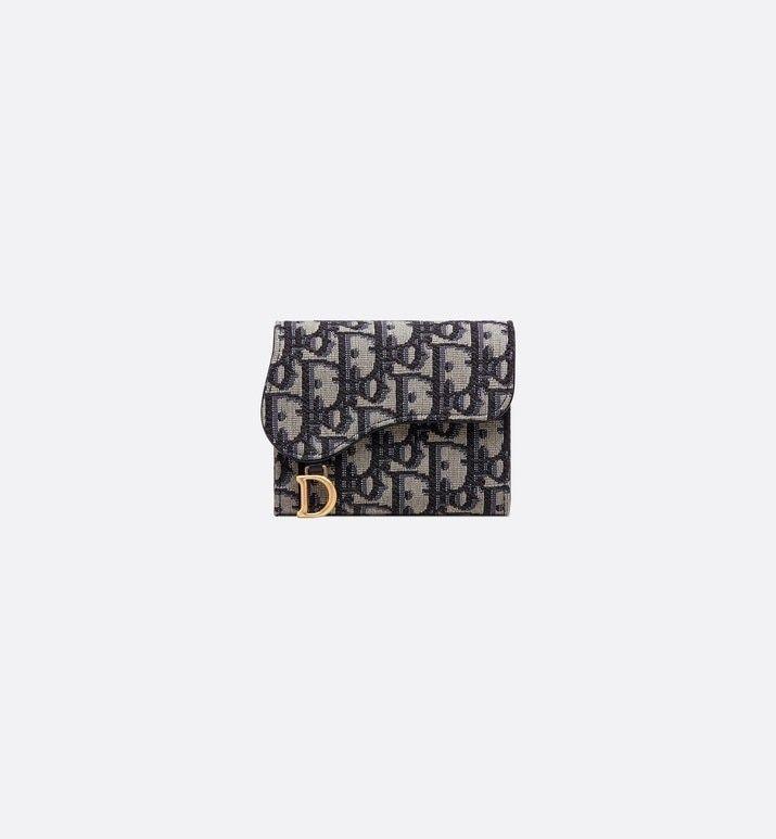 Saddle Wallet Blue Dior Oblique Jacquard Products Dior Dior Womens Fashion Accessories Designer Wallets