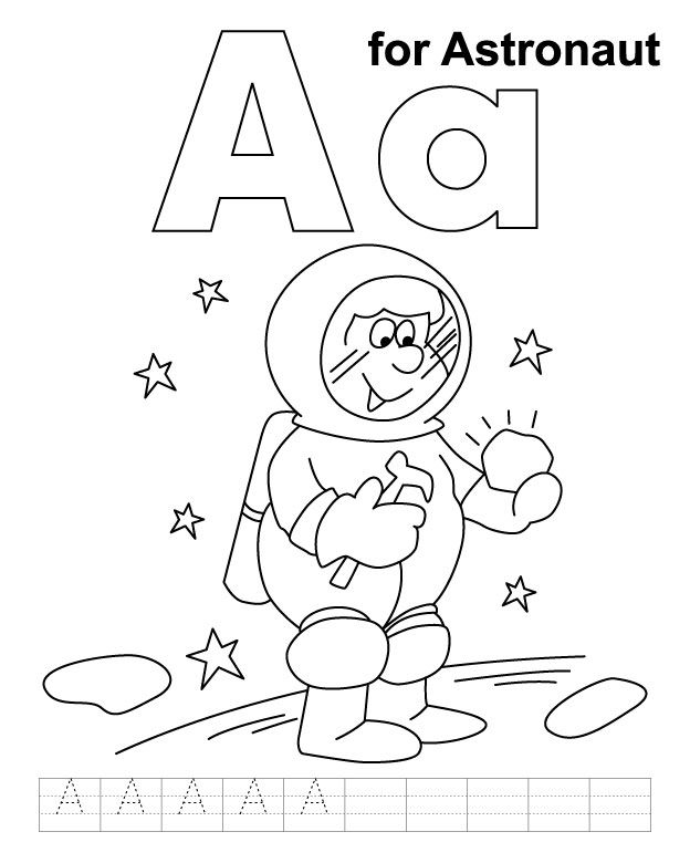 A For Astronaut Coloring Page With Handwriting Practice Pages Pinterest Preschool And