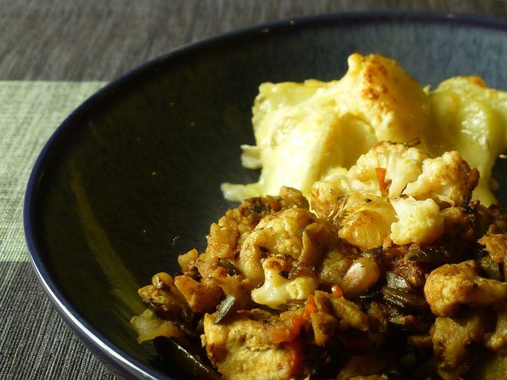Aubergines stuffed with stir-fried cauliflower and potato gratin