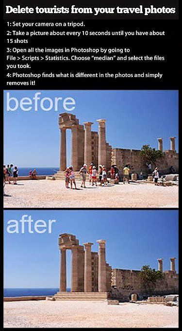 To remove tourists from photos, place your camera on a tripod, snap 15 photos every 10 seconds, open them up in Photoshop, and pick File >Scripts > Statistics, and choose Median.