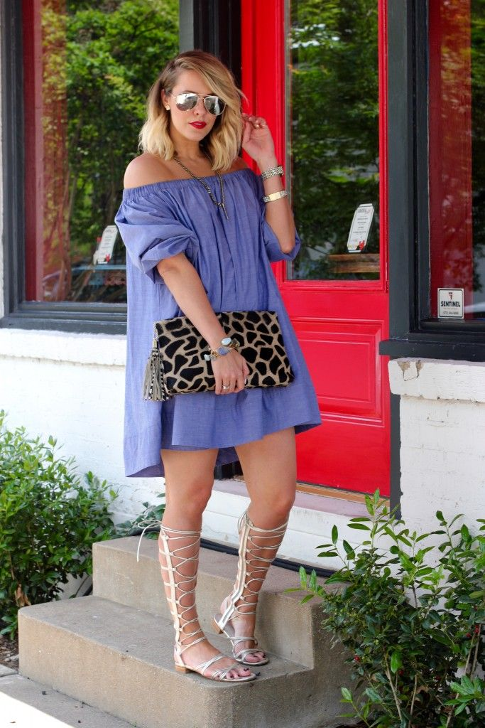 Off the Shoulder Chambray- I like the gladiator sandals with it!